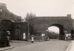 Fort Clarence - The archway by the fort's drawbridge was demolished in the 1930s. The fort, on the left, is now converted into flats.