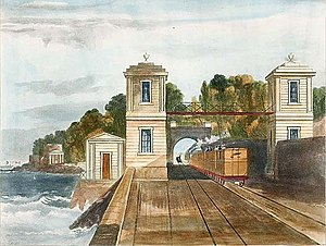 Dublin and Kingstown Railway - Lord Cloncurry's bridge, near Blackrock, 1834