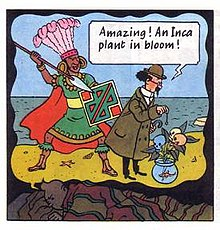 Tintin is shown dreaming; in his dream we see Calculus dowsing towards a plant that has blossomed skulls and is potted into a fish bowl; an Inca dressed in ceremonial attire is behind him raising a spear.