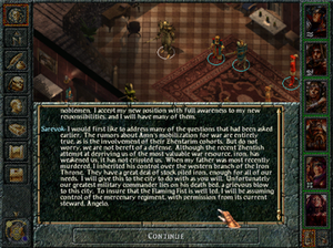 Baldur's Gate - A screenshot of Baldur's Gate, showcasing the user interface designed by BioWare in order to provide relative ease in playing the game, with the UI template used in other Forgotten Realms-licensed games, such as Icewind Dale. The game also relies heavily on plot and dialogue as driving factors behind how it conveys the main story.