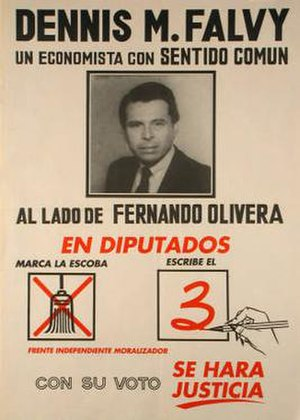 Independent Moralizing Front - FIM election poster, supporting a party candidate in the 1990 parliamentary election