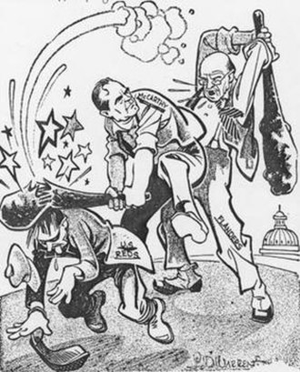 Ralph Flanders - I don't like your methods L.D. Warren cartoon, subtitled  Flanders' Folly—How about a vote of censure for Flanders? that showed a pro-McCarthy side of the censure issue. Originally published in the New York Journal American in 1954.