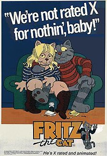 The film poster shows a blonde, pale-orange female cat wearing boots and a blue-striped shirt with a suggestive look sitting next to a grey male cat wearing a red-striped shirt on a green couch, with drugs and matches scattered on the floor. The background is a dark blue with the film's tagline spelled in big white letters on the top and the film's title on the bottom.