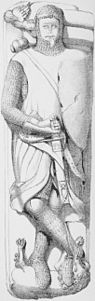 Illustration of the stone effigy of an armed warrior