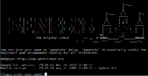 The login screen from Genesis, the first LPMud