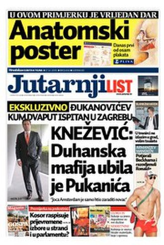 Jutarnji list - Front page of the 17  October 2009 issue