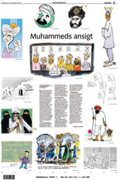 "The controversial cartoons of Muhammad, as they were first published in Jyllands-Posten in September 2005 (English version).  The headline, ""Muhammeds ansigt"", means ""The face of Muhammad""."