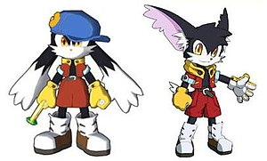 Klonoa: Door to Phantomile - Klonoa's character redesign (left) and Klonoa's proposed North American redesign (right)