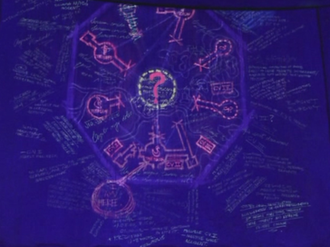 Dharma Initiative - The mysterious map on the blast door, revealed by blacklight.