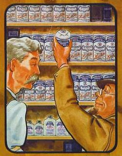 Illustration of two men in profile before a wall of shelves filled with identically labeled cans. The man on the left is taller and has a mustache, the shorter man on the right is goateed and wears glasses and a cap; he is pulling down a can.