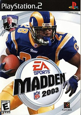 Madden NFL 2003 - PlayStation 2 cover art featuring Marshall Faulk