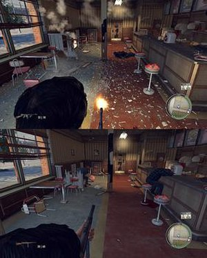 PhysX - (PC) The top screenshot shows how debris is simulated in Mafia II when PhysX is turned to the highest level in the game settings. The bottom screenshot shows a similar scene with PhysX turned to the lowest level.