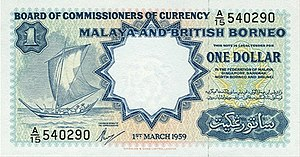 Malaya and British Borneo dollar - Image: Malaya&British Borneo 1Dollars front 1959