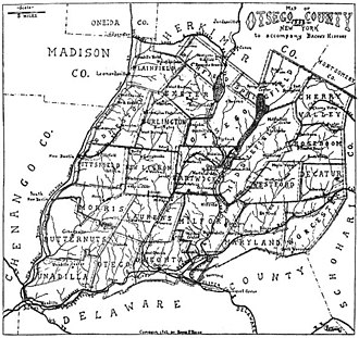 Otsego County, New York - Map of Otsego County NY to accompany Bacon's History 1902
