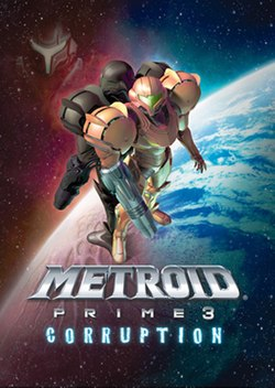 A person in a big, futuristic-looking powered suit with a helmet, a firearm on the right arm and large, bulky, and rounded shoulders. Behind her stands a duplicate of hers wearing a black suit, and the helmet of a creature with similar armor. In the background is a blue planet surrounded by stars. On the lower part of the box is the game title.
