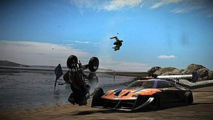 "MotorStorm: Pacific Rift - The ""screenshot"" feature allows players to take a picture during racing which can then be exported to the PlayStation 3's XMB"