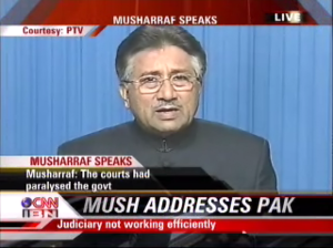 Lawyers' Movement - President Pervez Musharraf declared a state of emergency on 3 November 2007. Here he is seen addressing the nation for the first time since the emergency rule was announced as seen on CNN-IBN.