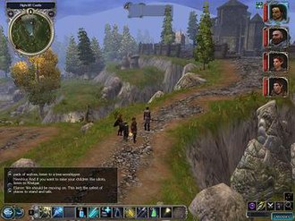 Neverwinter Nights 2 - An in-game screenshot. The player character and his party are in the middle of the screen. The interface is around the border, with a mini-map, dialogue box, and a variety of hotkeys.