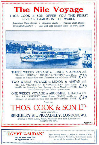 Thomas Cook - Nile cruise poster from 1922