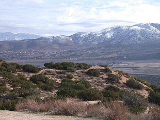 Palmdale, California - Looking south from the hills near Tierra Subida Avenue, January snow can be seen at the higher elevations.