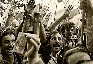 Declaration of Independence of Ukraine - People celebrate the declaration near the Verkhovna Rada building (24 August 1991)