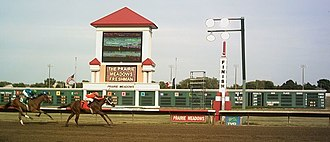 Prairie Meadows - Horses are about to cross the finish line during a September 5, 2005, race at Prairie Meadows