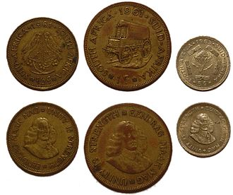 Coins of the South African rand - Image: SA Coins 1961 1964