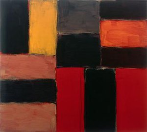 Sean Scully - Raval Rojo, 2004, oil on linen, 92 x 102 cm, Kerlin Gallery, Dublin
