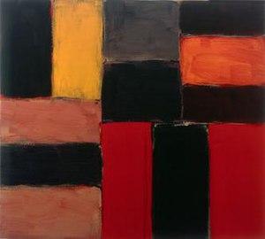 Sean Scully - Raval Rojo, 2004, oil on linen, 92 x 102 cm, Kerlin Gallery, Dublin