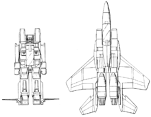 Front view of Starscream standing neutrally on left with jet horizontal stabilizers jutting sideways out from feet, normal-appearing dorsal-view jet illustration on right to similar scale