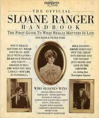Sloane Ranger - Cover of The Official Sloane Ranger Handbook. Lady Diana Spencer is pictured in centre.
