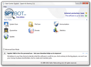 Spybot – Search & Destroy - Image: Spybot search and destroy screenshot