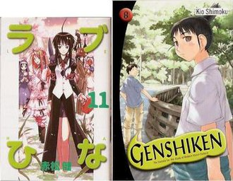 Tankōbon - This Japanese tankōbon edition of Love Hina volume 11 is smaller than this English tankōbon edition of Genshiken volume 8.