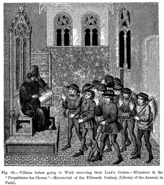 Villain - French villeins in the 15th century before going to work, receiving their Lord's Orders.