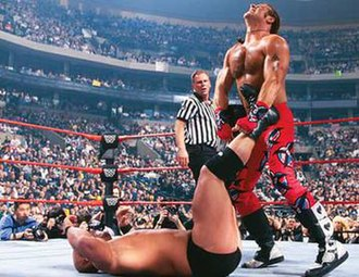 WrestleMania XIV - Stone Cold Steve Austin and Shawn Michaels during  their WWF World Heavyweight Championship match