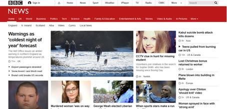 BBC News Online responsive design