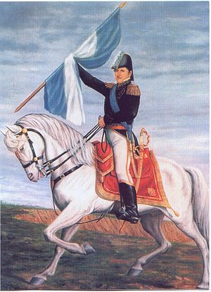 Manuel Belgrano holding the Flag of Argentina