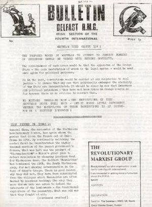 Revolutionary Marxist Group (Ireland) - Bulletin, publication of the Belfast R.M.G., from 1972