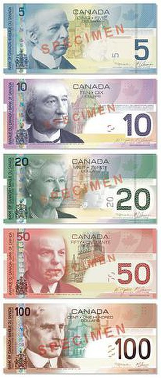 Canadian Journey Series - Face sides of the 2001 Canadian Journey series depicting, top to bottom, Wilfrid Laurier, John A. Macdonald, Queen Elizabeth II, William Lyon Mackenzie King, and Robert Borden.