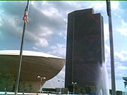The Erastus Corning Tower flanked by The Egg. Both are part of the Empire State Plaza