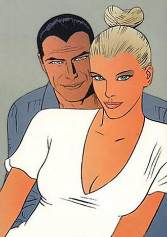 Diabolik - Diabolik and Eva Kant, drawn by Sergio Zaniboni.