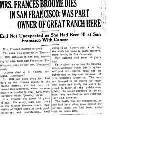 Rancho Guadalasca - Frances' obit, Oxnard Daily Courier, 10 Nov. 1921