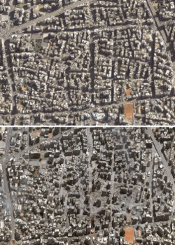 Satellite photographs of the Haret Hreik a Hezbollah dominated neighborhood [Dahieh district] of southern Beirut, Lebanon, before and after 22 July 2006. The neighborhood is home to Hezbollah's headquarters. See also high resolution photographs before and after.