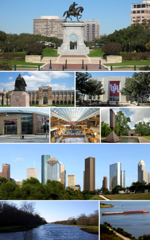 Top to bottom, left to right: Sam Houston Monument, Rice University, University of Houston, Toyota Center, The Galleria, Broken Obelisk, Downtown Houston, George Bush Park, and the Houston Ship Channel