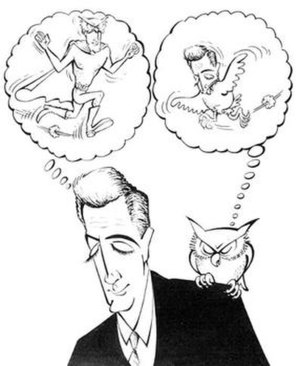 Jerry DeFuccio - Caricature of Jerry DeFuccio by Antonio Prohías. DeFuccio scripted The Owl for a newspaper comic strip.