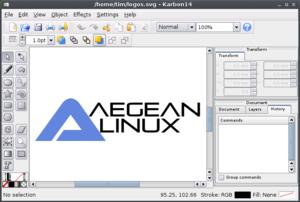 Graphic art software - A screenshot of Karbon14 vector graphic software running on an AegeanLinux desktop.