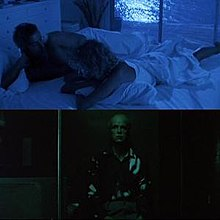 Two still images from the film. One is a married couple lying in bed, the image heavily tinted blue. The other is a man sitting alone in a darkened room, with the image heavily tinted green