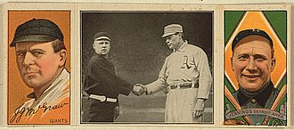Baltimore Orioles (1882–99) - John McGraw (left) and Hughie Jennings (right) anchored the left side of the infield for Orioles teams that won three straight National League pennants (1894–1896). Later, both were successful managers. (Note: In the middle image, McGraw is shaking hands with Athletics captain Harry Davis, right).