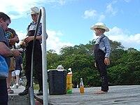 Mennonite Children selling peanuts near Lamanai in Belize.