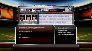 Major League Baseball 2K9 - Game trading screen.